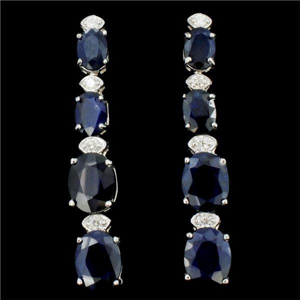 14K Gold 5.00ct Sapphire & 0.35ctw Diamond Earring