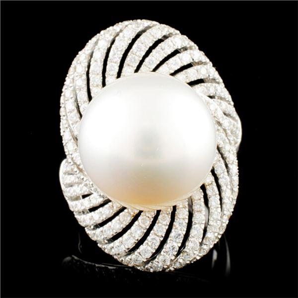 18K Gold 15.00MM Pearl & 1.41ctw Diamond Ring