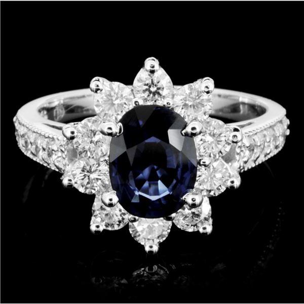 14K Gold 2.00ct Sapphire & 1.00ctw Diamond Ring