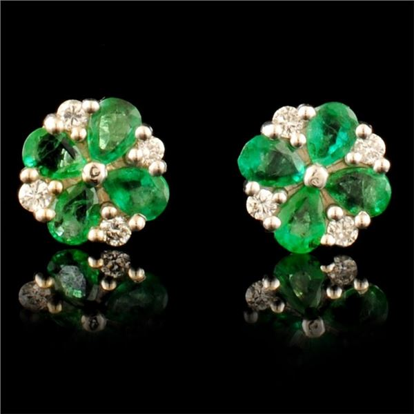 14K Gold 3.00ct Emerlad & 0.40ct Diamond Earrings