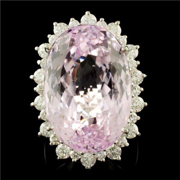 14K Gold 38.50ct Kunzite & 2.50ctw Diamond Ring