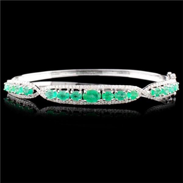 14K Gold 2.60ctw Emerald & 0.63ctw Diamond Bangle