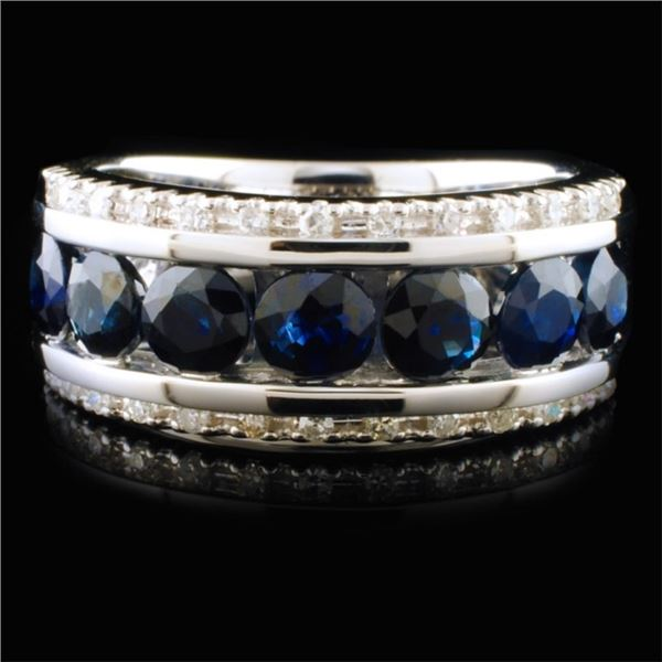 14K White Gold 2.02ct Sapphire & 0.13ctw Diamond R