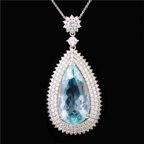 18K Gold 14.94ct Aquamarine & 2.88ctw Diamond Pend