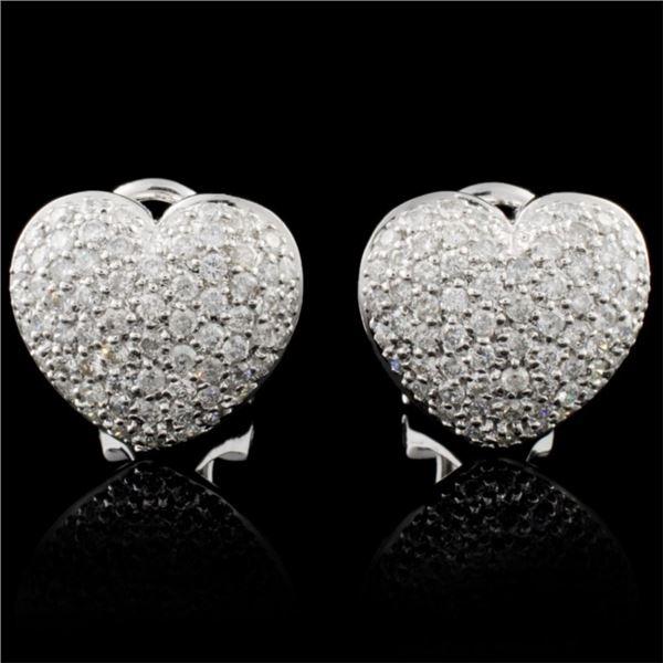 14K White Gold 1.04ctw Diamond Earrings