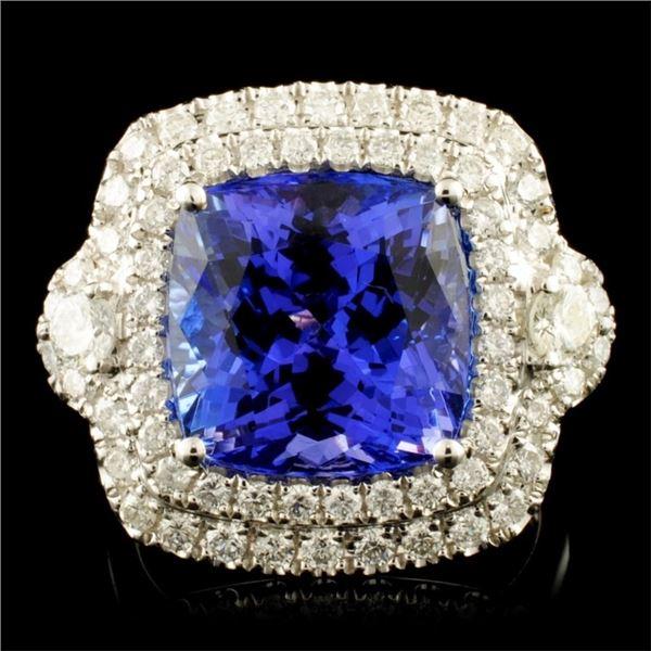 18K Gold 8.22ct Tanzanite & 1.11ctw Diamond Ring