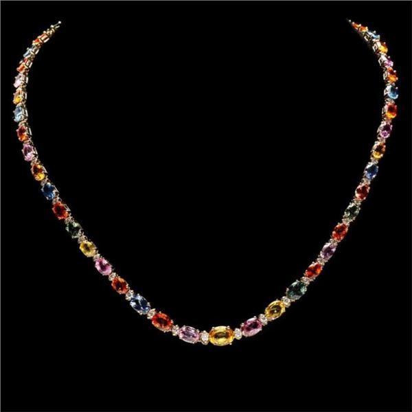 `14k Gold 32.00ct Sapphire & 1.50ct Diamond Neckla