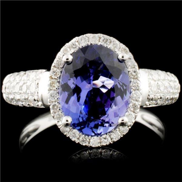 18K Gold 2.36ct Tanzanite & 0.50ctw Diamond Ring