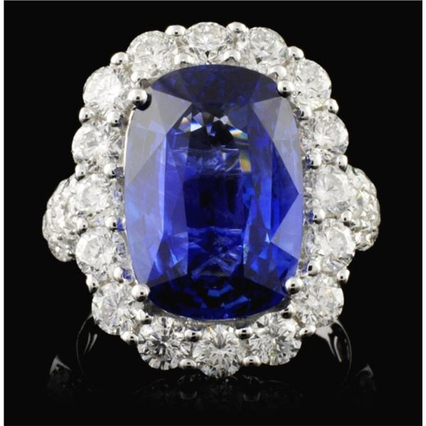 18K White Gold 8.52ct Sapphire & 2.70ct Diamond Ri