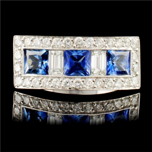 18K Gold 1.22ctw Sapphire & 0.58ctw Diamond Ring