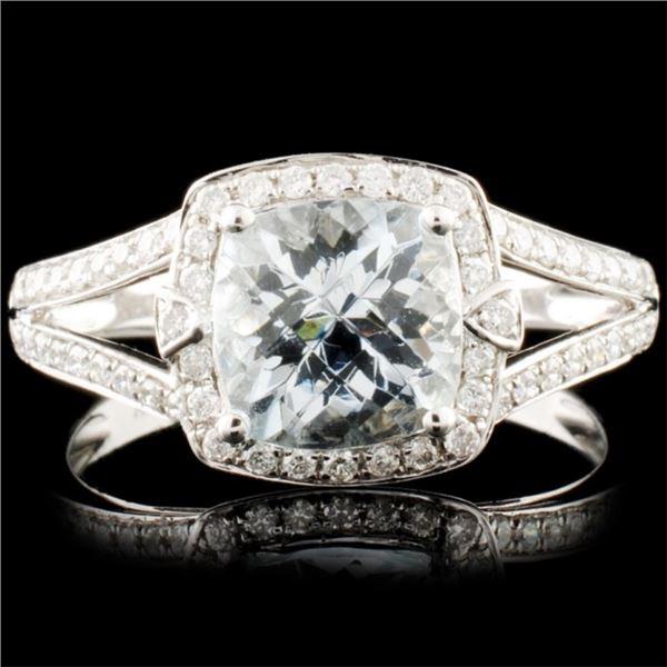 14K Gold 1.43ct Aquamarine & 0.33ctw Diamond Ring