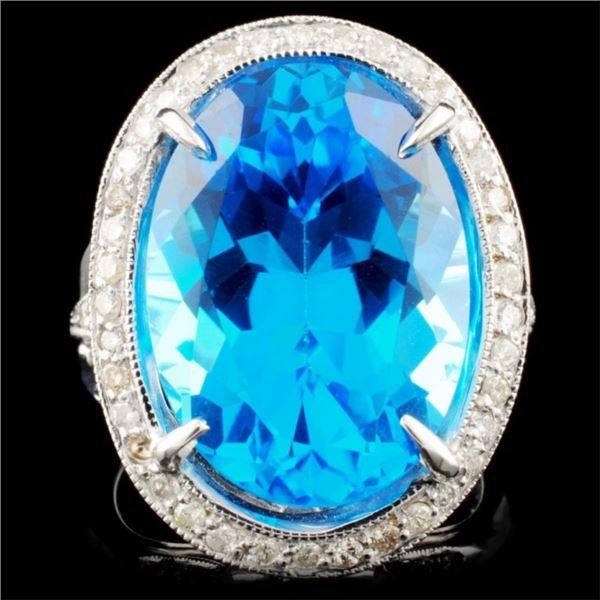 18K Gold 14.85ct Topaz & 0.66ctw Diamond Ring