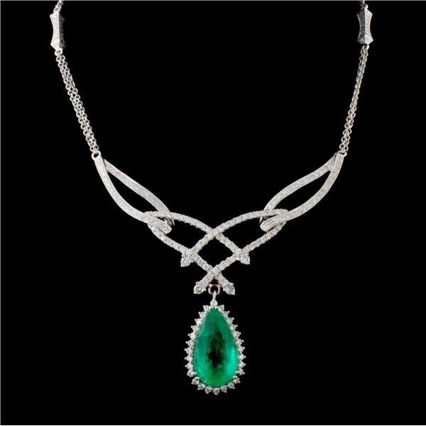 18K/14K Gold 5.58ct Emerald & 2.10ct Diamond Neckl
