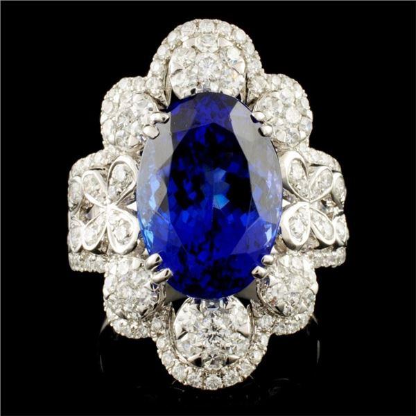 18K Gold 8.23ct Tanzanite & 1.43ctw Diamond Ring