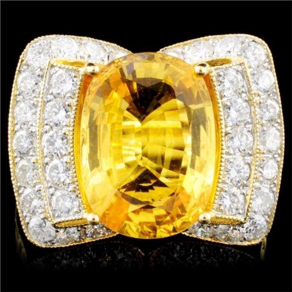 18K Gold 6.47ct Sapphire & 1.27ctw Diamond Ring