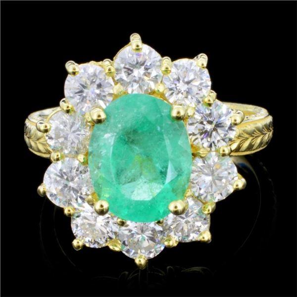14K Gold 3.00ct Emerald & 1.50ctw Diamond Ring