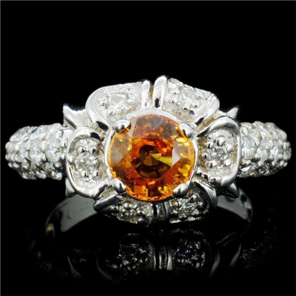 14K Gold 1.00ct Sapphire & 1.00ctw Diamond Ring