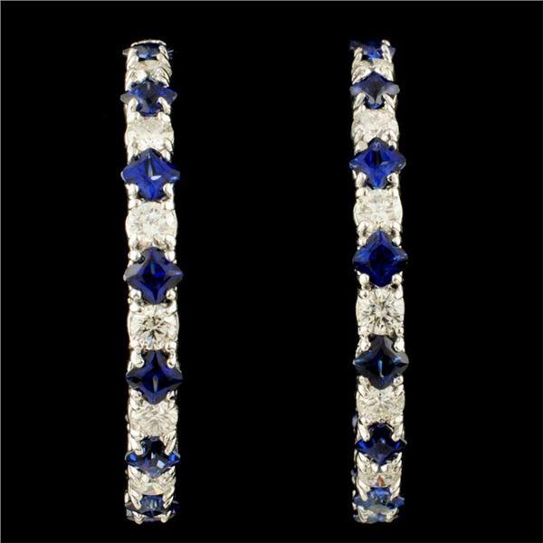 14K Gold 6.14ct Sapphire & 3.21ctw Diamond Earring
