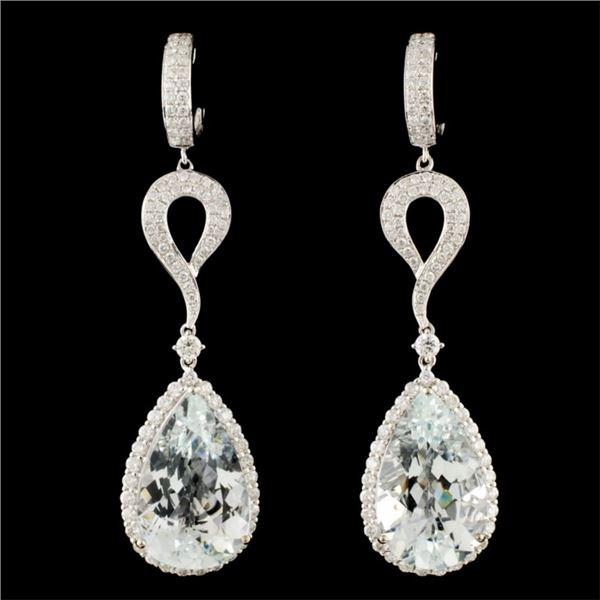 14K Gold 23.61ct Aquamarine & 2.86ctw Diamond Earr