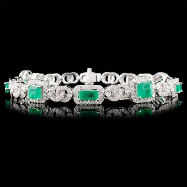 14K Gold 3.00ct Emerald & 1.73ctw Diamond Bracelet