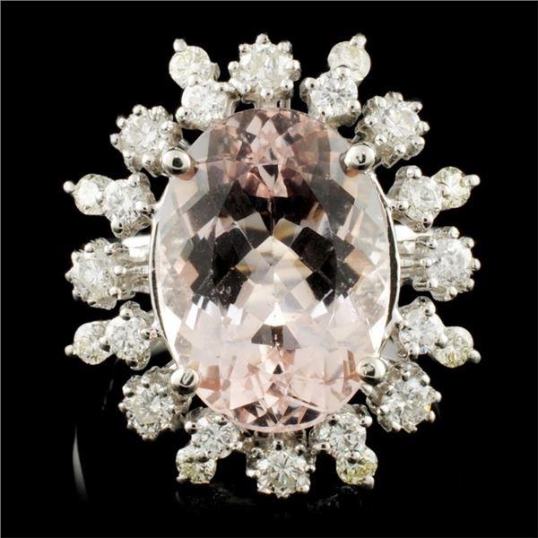 14K Gold 5.54ct Morganite & 0.90ctw Diamond Ring