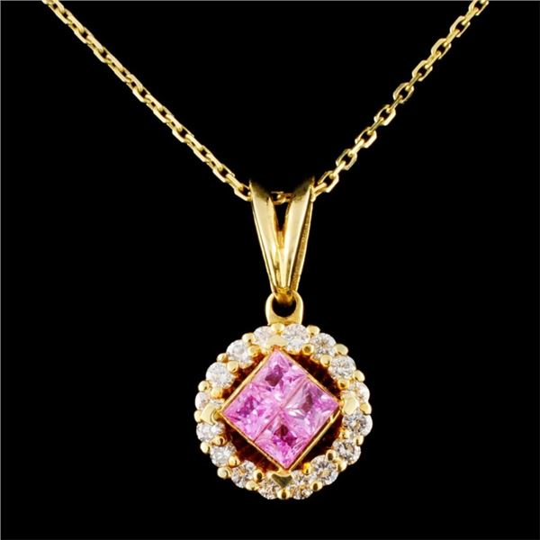 18K Gold 0.70ct Sapphire & 0.47ctw Diamond Pendant