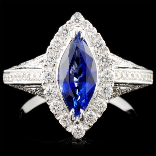 18K Gold 1.42ct Sapphire & 0.65ct Diamond Ring
