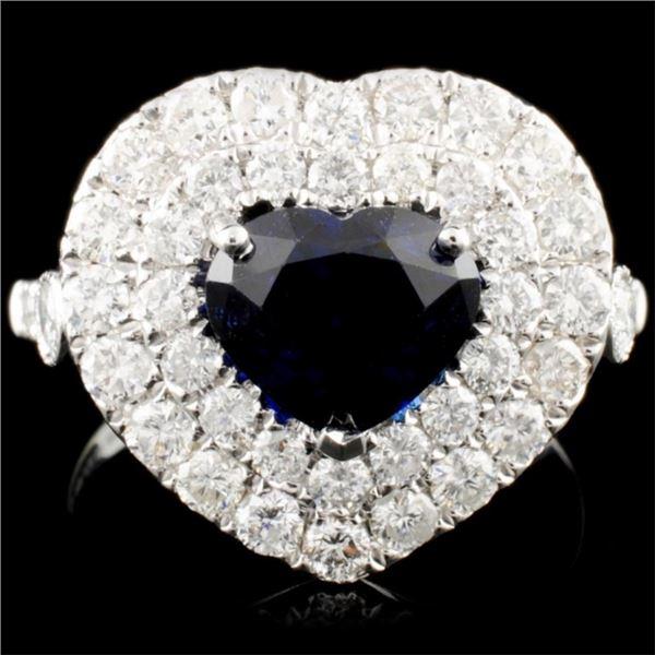 18K Gold 2.55ct Sapphire & 1.80ctw Diamond Ring