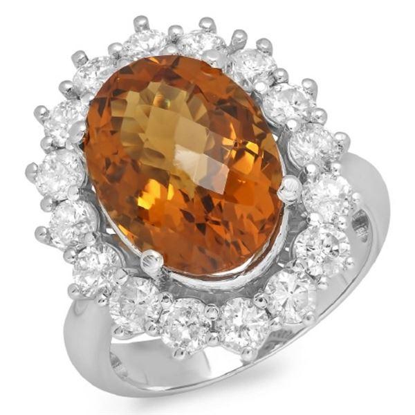 14K Gold 6.50ct Citrine & 1.75ct Diamond Ring