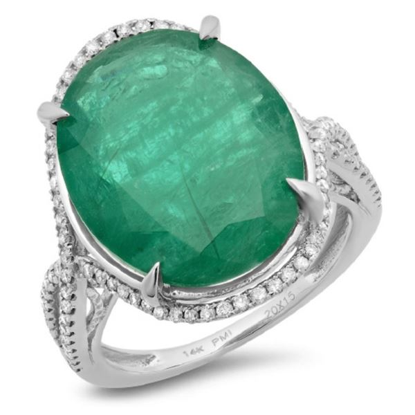 14K Gold 10.50ct Emerald & 0.30ct Diamond Ring