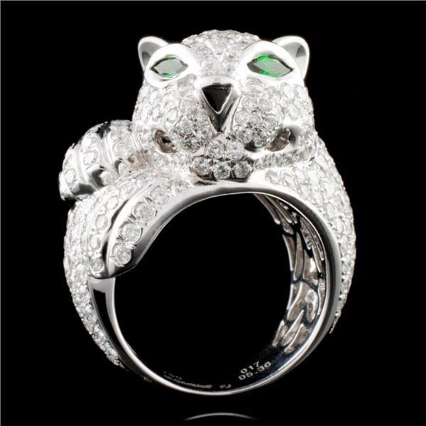 18K Gold 0.17ct Garnet & 5.36ct Diamond Ring