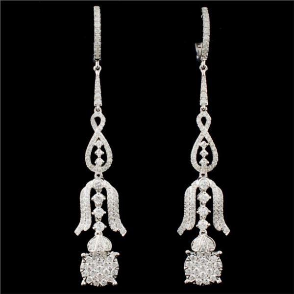 14K White Gold 1.67ctw Diamond Earrings