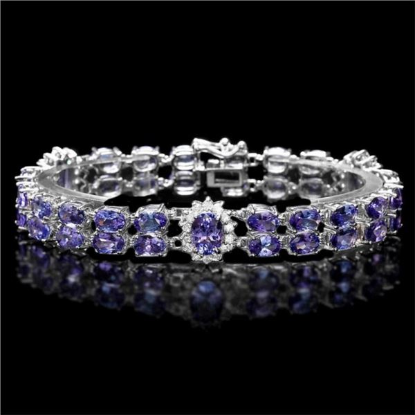 `14K Gold 25.00ct Tanzanite & 1.30ct Diamond Brace