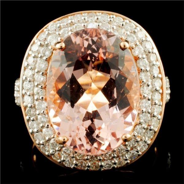 14K Gold 7.66ct Morganite & 1.11ctw Diamond Ring