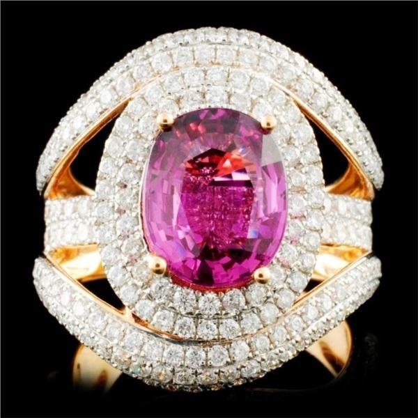 18K Gold 3.47ct Sapphire & 2.11ctw Diamond Ring