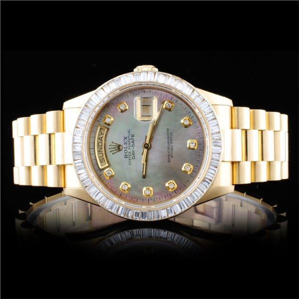 Rolex 18K YG Day-Date Diamond Wristwatch