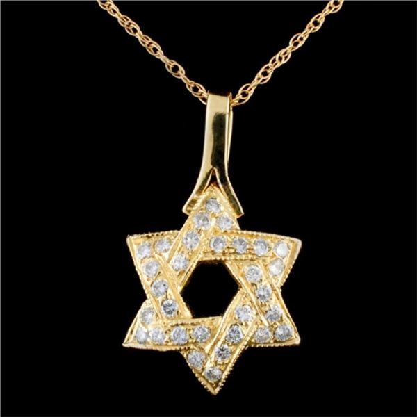 14K Gold 0.59ctw Diamond Pendant