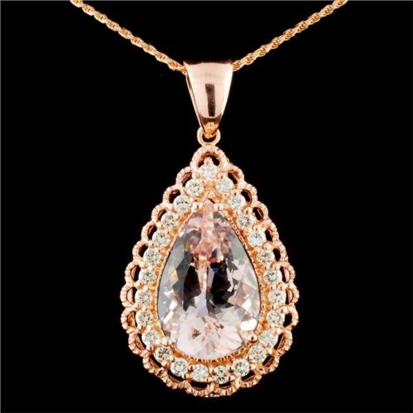14K Gold 11.40ct Morganite & 1.16ctw Diamond Penda