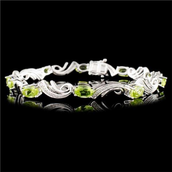 14K Gold 4.88ct Peridot & 0.25ctw Diamond Bracelet