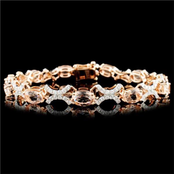 14K Gold 7.80ct Morganite & 1.51ctw Diamond Bracel