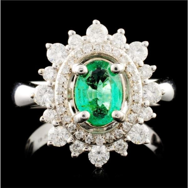 14K Gold 0.69ct Emerald & 0.66ctw Diamond Ring