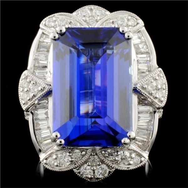 18K White Gold 11.10ct Tanzanite & 1.54ctw Diamond