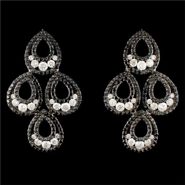 14K Gold 6.09ctw Diamond Earrings