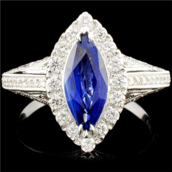 18K Gold 1.51ct Sapphire & 0.65ctw Diamond Ring