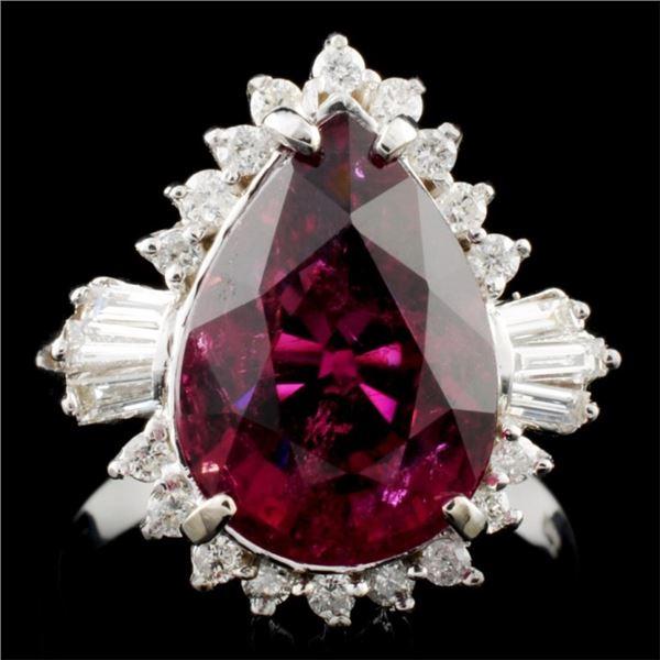 14K Gold 4.88ct Tourmaline & 0.50ctw Diamond Ring