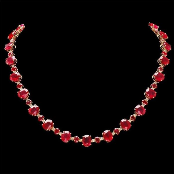 `14k Gold 54.00ct Ruby & 2.00ct Diamond Necklace