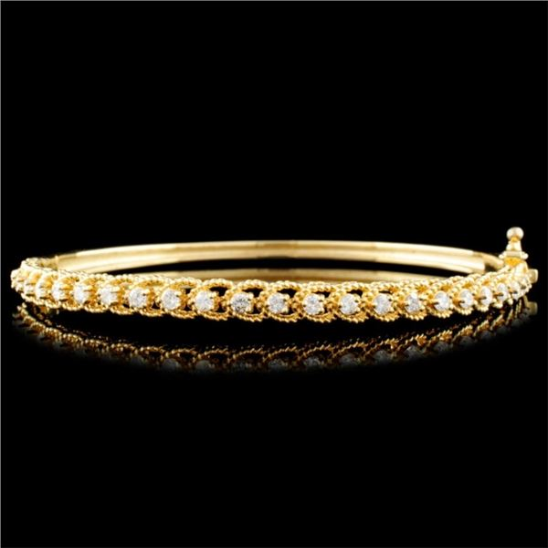 14K Gold 0.78ctw Diamond Bangle