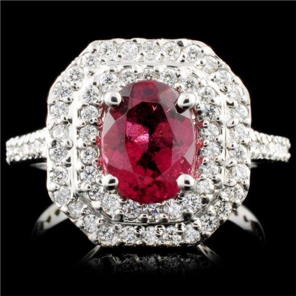 14K Gold 1.33ct Tourmaline & 0.64ctw Diamond Ring