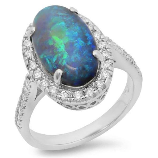 14K Gold 4.00ct Opal & 0.65ct Diamond Ring