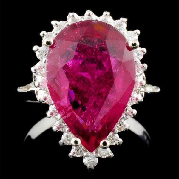 14K Gold 5.26ct Tourmaline & 0.35ctw Diamond Ring